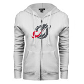 ENZA Ladies White Fleece Full Zip Hoodie-Dragon Mark