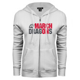 ENZA Ladies White Fleece Full Zip Hoodie-March On Dragons
