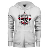 ENZA Ladies White Fleece Full Zip Hoodie-2017 Northern Sun Intercollegiate Conference Womens Champions