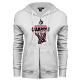 ENZA Ladies White Fleece Full Zip Hoodie-2017 Northern Sun Intercollegiate Conference Mens Champions
