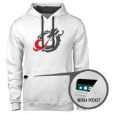 Contemporary Sofspun White Hoodie-Dragon Mark