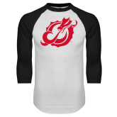 White/Black Raglan Baseball T-Shirt-Dragon Mark