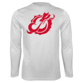 Performance White Longsleeve Shirt-Dragon Mark