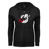 ENZA Ladies Black Fleece Full Zip Hoodie-Dragon Mark