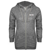 ENZA Ladies Grey/Black Marled Full Zip Hoodie-Dragons