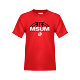 Youth Red T Shirt-Arched Basketball Design