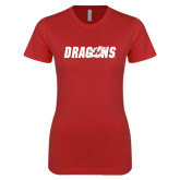 Next Level Ladies SoftStyle Junior Fitted Red Tee-Dragons