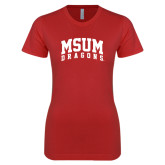 Next Level Ladies SoftStyle Junior Fitted Red Tee-MSUM Dragons