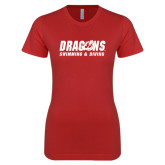 Next Level Ladies SoftStyle Junior Fitted Red Tee-Swimming & Diving