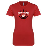 Next Level Ladies SoftStyle Junior Fitted Red Tee-Basketball Design