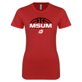Next Level Ladies SoftStyle Junior Fitted Red Tee-Arched Basketball Design
