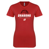Next Level Ladies SoftStyle Junior Fitted Red Tee-Volleyball Design