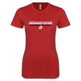 Next Level Ladies SoftStyle Junior Fitted Red Tee-Swimming & Diving Design