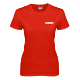 Ladies Red T Shirt-Dragons