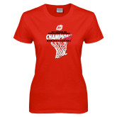 Ladies Red T Shirt-2017 Northern Sun Intercollegiate Conference Mens Champions