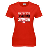 Ladies Red T Shirt-2017 Northern Sun Intercollegiate Conference Men and Women Champions