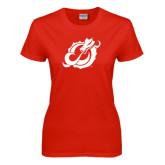 Ladies Red T Shirt-Dragon Mark