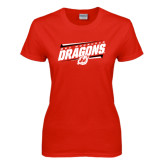 Ladies Red T Shirt-Stencil Type Design