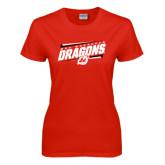 Ladies Red T Shirt-Stencil Type Design