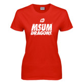 Ladies Red T Shirt-Type Slash Design