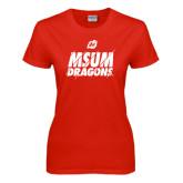 Ladies Red T Shirt-Type Slash Design