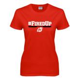 Ladies Red T Shirt-#FiredUp