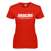 Ladies Red T Shirt-Football
