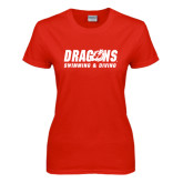 Ladies Red T Shirt-Swimming & Diving