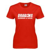 Ladies Red T Shirt-Swimming & Diving