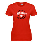 Ladies Red T Shirt-Basketball Design