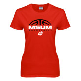 Ladies Red T Shirt-Arched Basketball Design