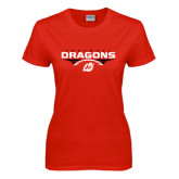 Ladies Red T Shirt-Football Design