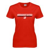 Ladies Red T Shirt-Swimming & Diving Design