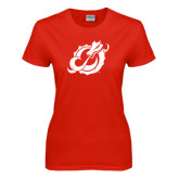 Ladies Red T Shirt-Dragon Mark Distressed