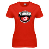 Ladies Red T Shirt-2017 Northern Sun Intercollegiate Conference Womens Champions