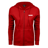 ENZA Ladies Red Fleece Full Zip Hoodie-Dragons