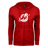 ENZA Ladies Red Fleece Full Zip Hoodie-Dragon Mark