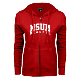 ENZA Ladies Red Fleece Full Zip Hoodie-MSUM Dragons