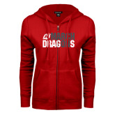 ENZA Ladies Red Fleece Full Zip Hoodie-March On Dragons