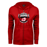 ENZA Ladies Red Fleece Full Zip Hoodie-2017 Northern Sun Intercollegiate Conference Womens Champions