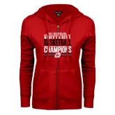 ENZA Ladies Red Fleece Full Zip Hoodie-2017 Northern Sun Intercollegiate Conference Men and Women Champions