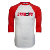 White/Red Raglan Baseball T-Shirt-Dragons