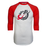 White/Red Raglan Baseball T-Shirt-Dragon Mark
