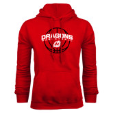 Red Fleece Hoodie-Basketball Design