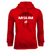 Red Fleece Hoodie-Arched Basketball Design