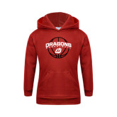 Youth Red Fleece Hoodie-Basketball Design