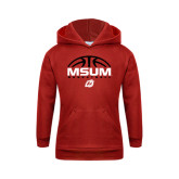 Youth Red Fleece Hoodie-Arched Basketball Design