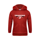 Youth Red Fleece Hoodie-Football Design
