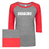 ENZA Ladies Athletic Heather/Red Vintage Triblend Baseball Tee-Dragons