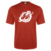Performance Red Heather Contender Tee-Dragon Mark